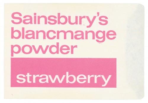 SA/PKC/PRO/1/3/2/3/35/1 - Sainsbury's Blancmange Powder Strawberry packet, 1960s-1970s