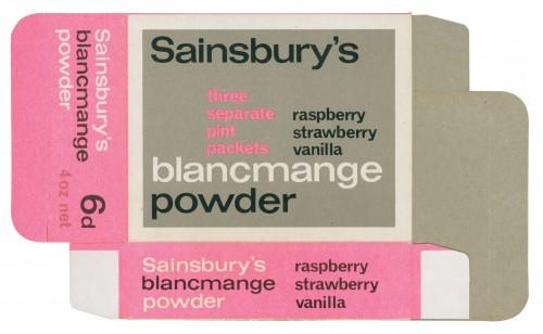 SA/PKC/PRO/1/3/2/3/37/1 - Sainsbury's Blancmange Powder packet, 1960s
