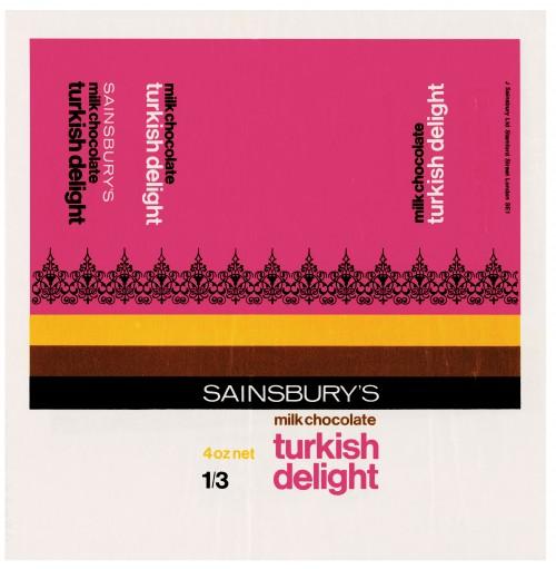 SA/PKC/PRO/1/4/2/2/6/1/1 - Sainsbury's Milk Chocolate Turkish Delight wrapper, 1968
