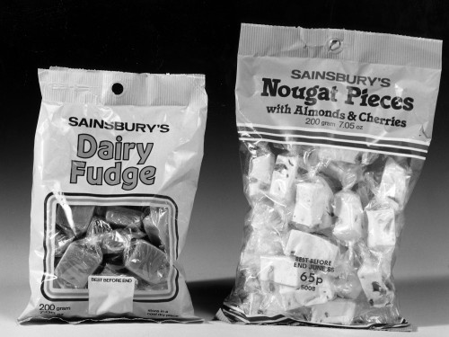 SA/PKC/PRO/1/4/4/a2/4 - Photograph of Sainsbury's Dairy Fudge and Sainsbury's Nougat Pieces with Almonds & Cherries packets