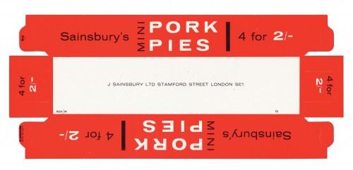 SA/PKC/PRO/1/5/2/3/26/1 - Sainsbury's Mini Pork Pies packet, 1960s
