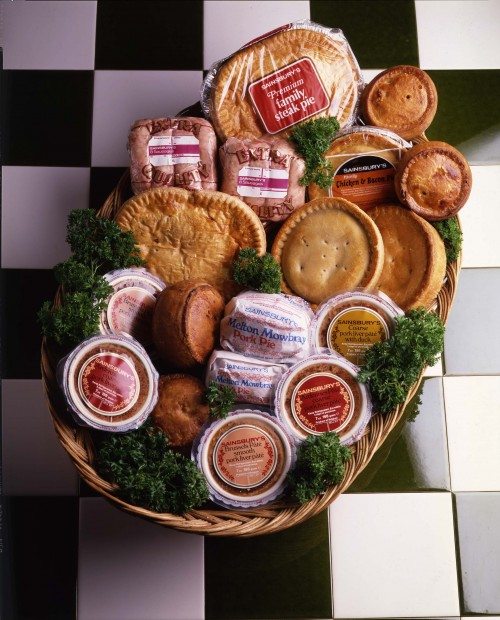 SA/PKC/PRO/1/5/4/1/1 - Photograph (transparency) of 1990s meat products (pies, pate, sausages)