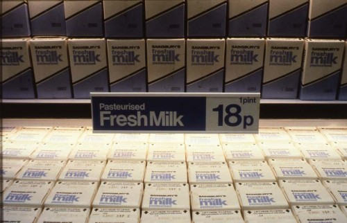 SA/PKC/PRO/1/6/4/a1/1 - Slide photograph of pasteurised milk shelf display, price 18p (c.1985)