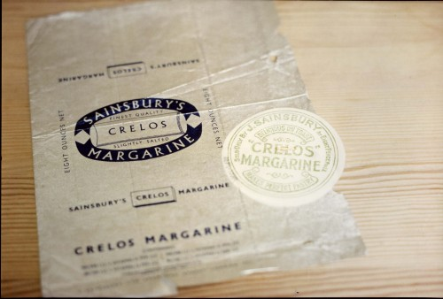 SA/PKC/PRO/1/6/4/a1/4 - Photograph of Sainsbury's Crelos margarine wrapper designed by Leonard Beaumont