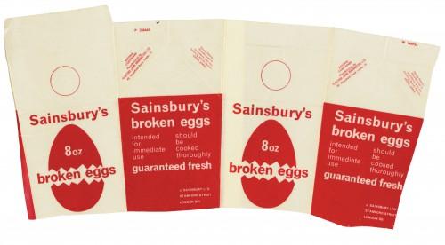 SA/PKC/PRO/1/8/1/1/2 - Sainsbury's 8oz Broken Eggs carton, c. 1964