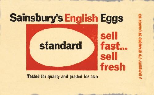 SA/PKC/PRO/1/8/2/1/2 - Sainsbury's English Eggs Standard label, 1964