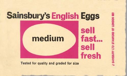 SA/PKC/PRO/1/8/2/1/3 - Sainsbury's English Eggs Medium label, 1964