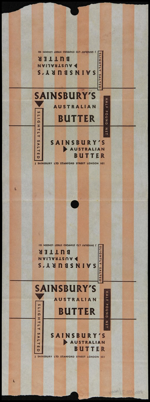 SA/PKC/PRO/1/6/2/1/1/15/1 - Sainsbury's Slightly Salted Australian Butter packaging, late 1950s