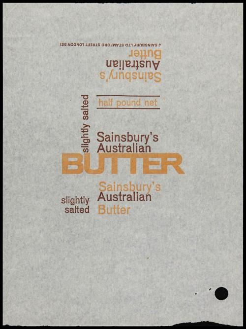 SA/PKC/PRO/1/6/2/1/1/15/2 - Sainsbury's Australian Butter Slightly Salted wrapper, 1960s
