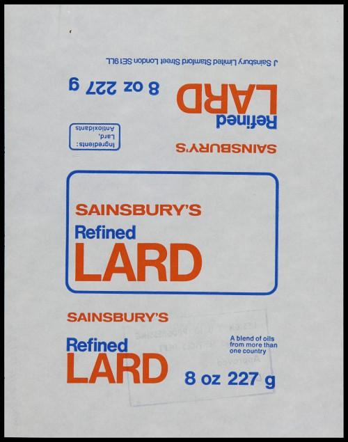 SA/PKC/PRO/1/6/2/1/2/6/1 - Sainsbury's Refined Lard wrapper, 1970s-1980s