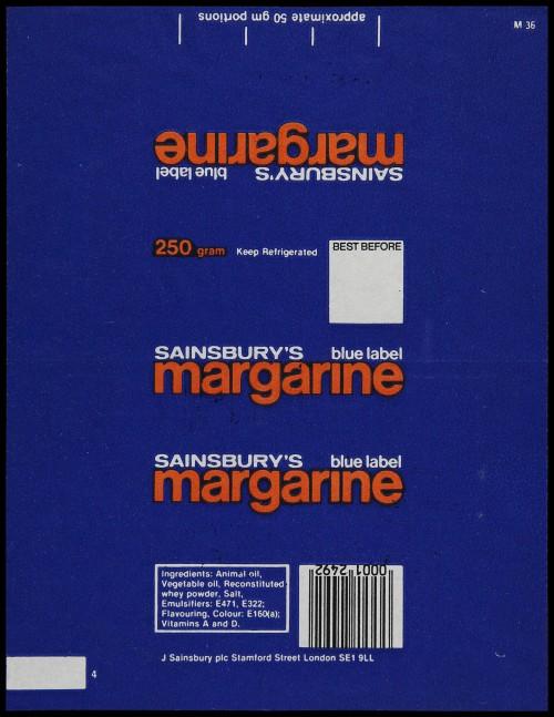 SA/PKC/PRO/1/6/2/1/3/1/1 - Sainsbury's Margarine Blue Label wrapper, 1980s