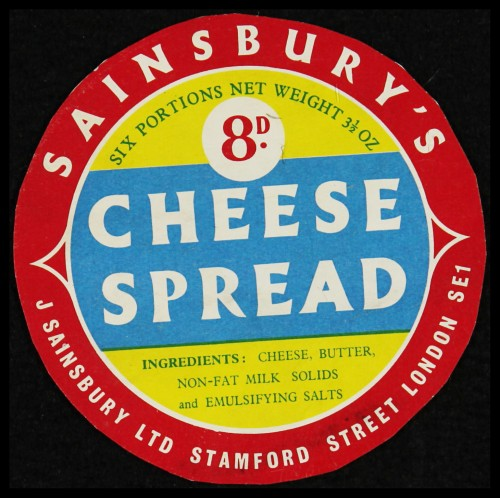 SA/PKC/PRO/1/6/2/1/4/2/2 - Sainsbury's Cheese Spread label, 1960s