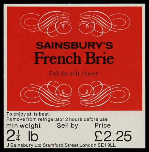 SA/PKC/PRO/1/6/2/2/9 - Sainsbury's French Brie label