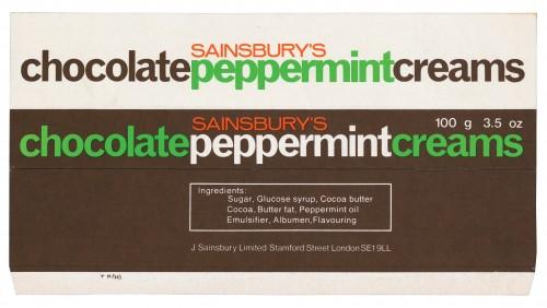 SA/PKC/PRO/1/4/2/2/5/8/1 - Sainsbury's Chocolate Peppermint Creams packet, 1960s-1970s