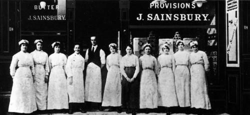 SA/WAR/1/4/1 - Photograph of staff outside a Sainsbury's store