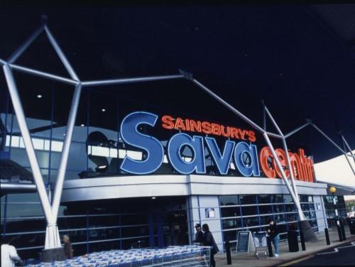 SA/SUB/SBHS/A-Z/S/IMA/2/1 - Photograph of Sydenham Savacentre exterior: store entrance and signage