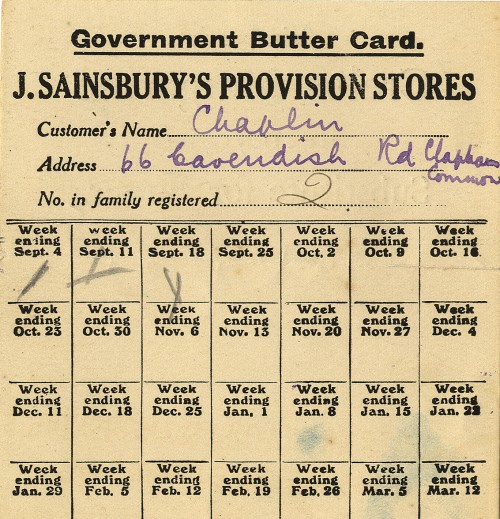 "SA/WAR/1/1/14 - ""Government Butter Card. J Sainsbury's Provision Stores"", c. 1918"