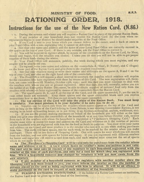 SA/WAR/1/1/5 - 'Ministry of Food Rationing Order, 1918- Instructions for the use of the New Ration Card'