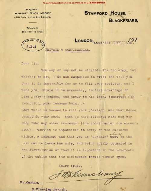 SA/WAR/1/1/7 - Letter to Mr. Curtis regarding exemption from army