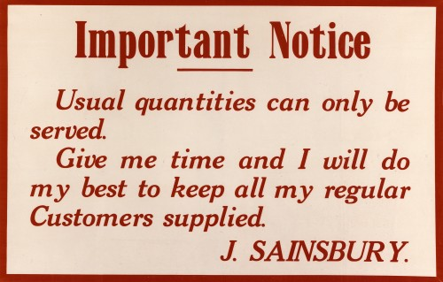 "SA/WAR/1/4/2 - ""Important Notice"" relating to wartime food availability, c. 1914"