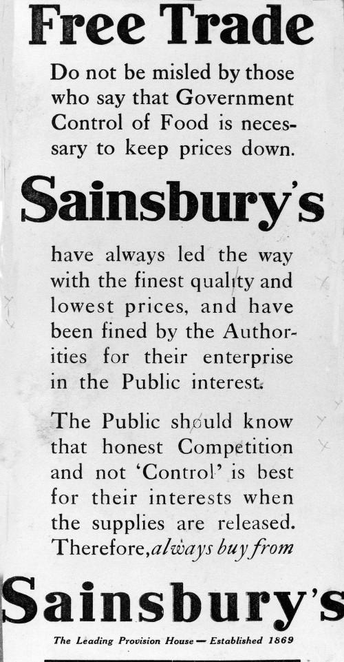 """SA/WAR/1/4/5 - """"Free Trade"""" advertisement, c. 1914"""
