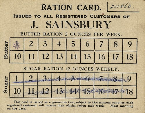 "SA/WAR/1/4/6 - Image of ""Ration Card Issued to All Registered Customer of J.Sainsbury's"""