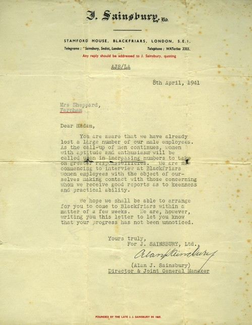 SA/WAR/2/1/z/8 - Letter to Mrs Sheppard to arrange an interview at Blackfriars