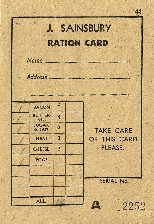 "SA/WAR/2/2/11 - ""J Sainsbury Ration Card"""