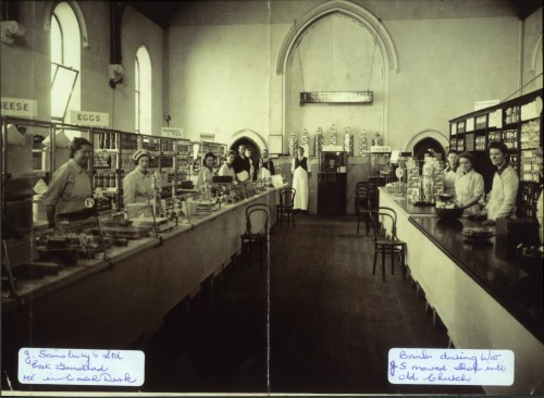 SA/WAR/2/2/2 - Photograph of interior of East Grinstead shop in church with staff, Second World War