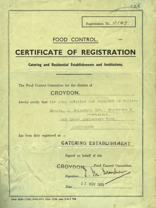 SA/WAR/2/2/8 - Food Control Committee 'Certificate of Registration' for 245 Lower Addiscombe Road, Croydon branch