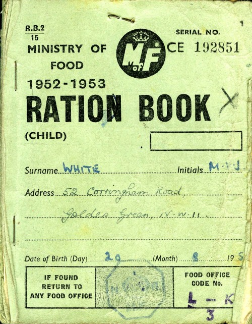 SA/WAR/2/4/1/1 - Ministry of Food Ration Book (Child) 1952-53