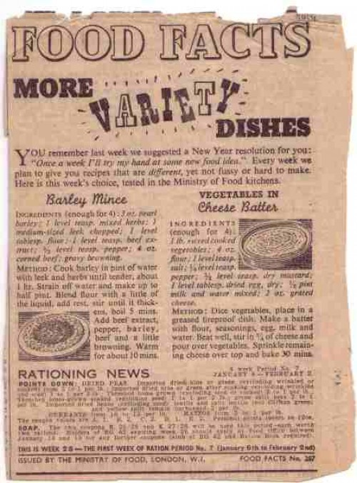 "SA/WAR/2/4/2 - Ministry of Food ""Food Facts: More Variety Dishes"" press advertisement"