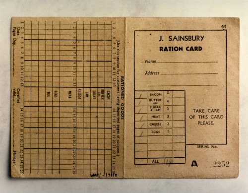 SA/WAR/2/IMA/1/6 - J Sainsbury ration card image