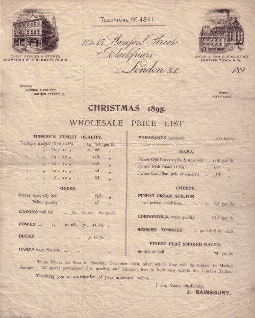 SA/WHO/1/1/1 - Christmas 1895. Wholesale Price List.