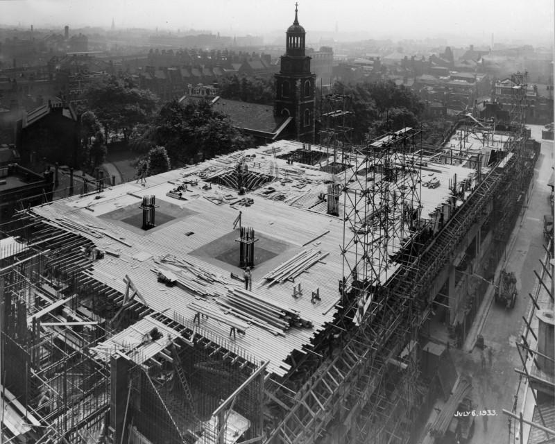 SA/BL/1/16/8 - Photograph of construction of Sainsbury's factory at Paris Gardens, Blackfriars, London (exterior), 6 Jul 1933