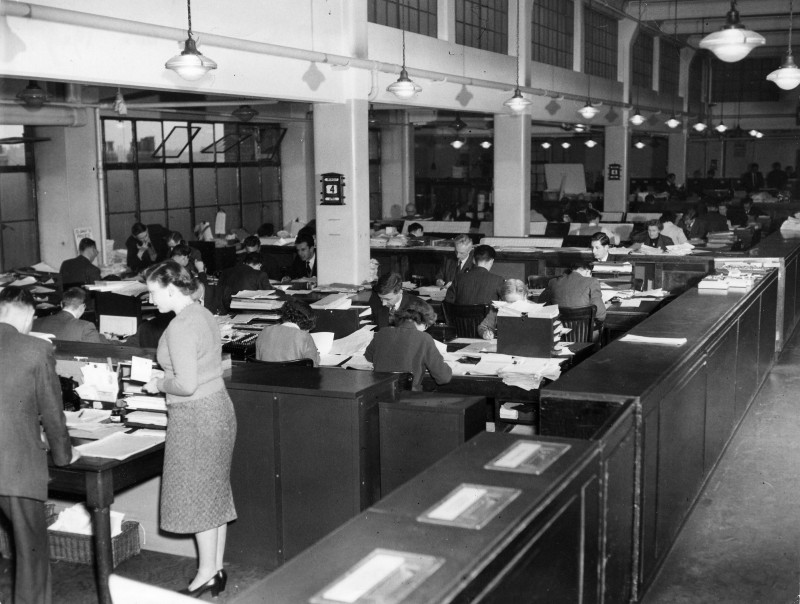SA/BL/IMA/4/1 - Photograph of 4th Floor Offices Stamford House c.1949 (with personnel)