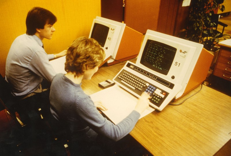 SA/BL/IMA/4/3 - Photograph of staff working on computer terminals, 1970s-1980s