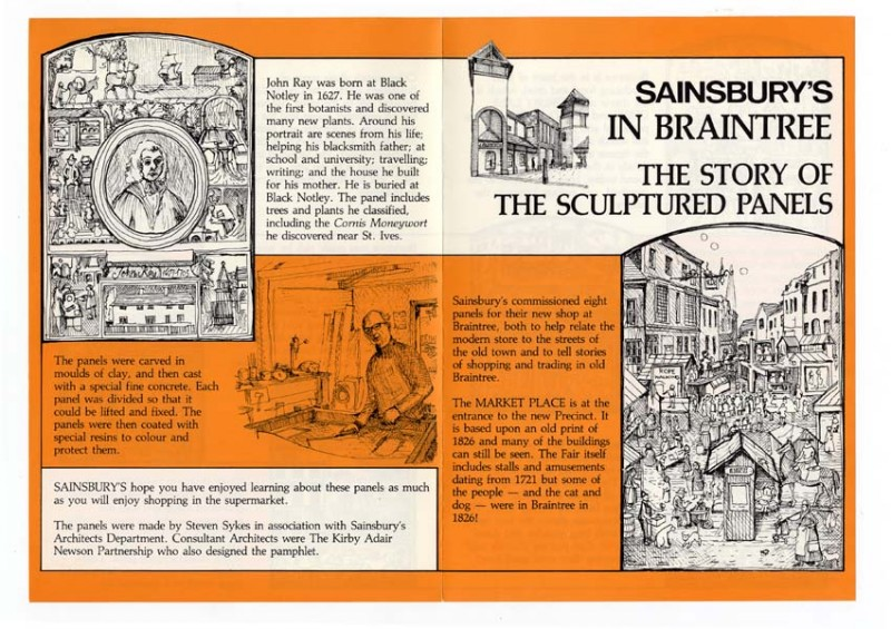 """SA/BR/22/B/42/2/2 - """"Sainsbury's in Braintree: The story of the sculptured panels"""" leaflet"""