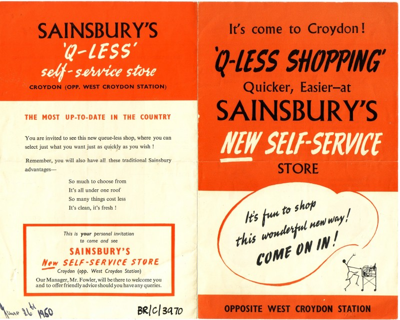 "SA/BR/22/C/54/1 - ""Q-Less Shopping"" poster for [9-11 London Road], Croydon store"