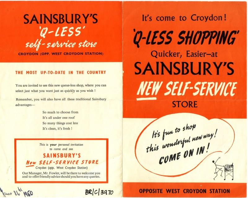 "SA/BR/22/C/54/1 - ""Q-Less Shopping"" poster for [9-11 London Road], Croydon store"