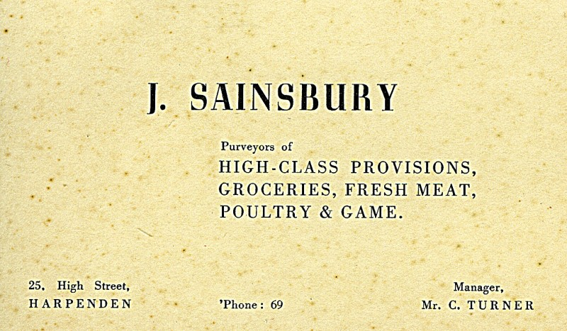 SA/BR/22/H/13/2/1 - Business card for Harpenden (25 High Street) branch