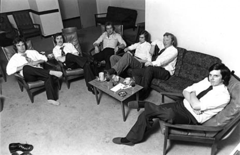 SA/BR/7/IMA/1/1 - Photograph of male staff relaxing in the lounge at Wood Green hostel 1975