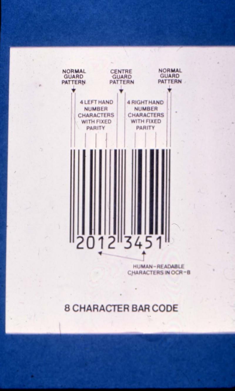SA/BRA/4/3/5/1/3 - Slide photograph of 8 character bar code (explanatory diagram)