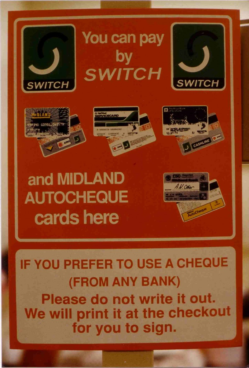 SA/BRA/4/3/5/1/5 - Photograph of 'You can pay by Switch and Midland Autocheque cards here' store signage
