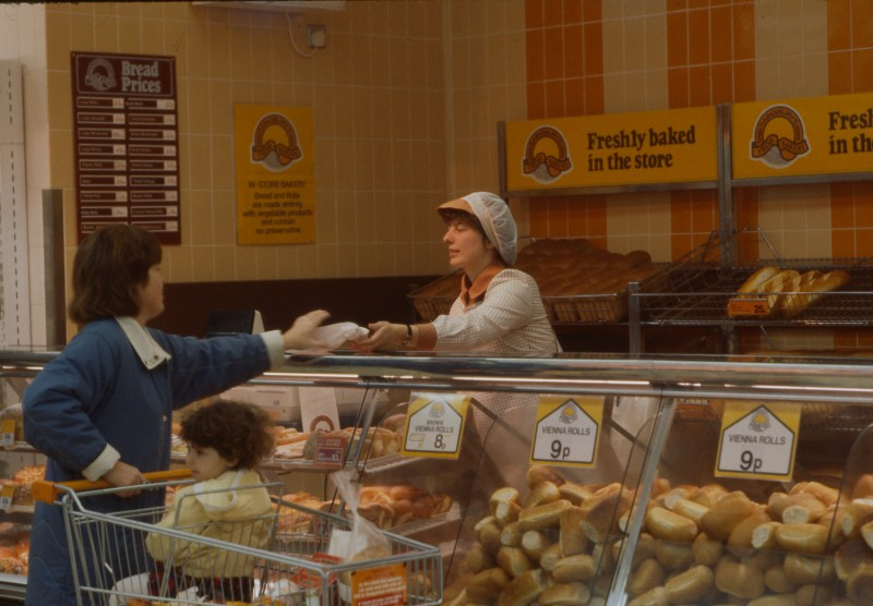 SA/BRA/7/B/25/15 - Image of staff serving customers at the bakery department at Red Bank Road, Blackpool branch