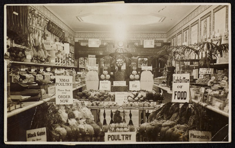 SA/BRA/7/B/31/3/3 - Image of interior of 639 Christchurch Road, Boscombe branch, Christmas display inside shop, 1925