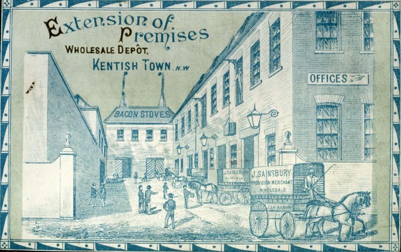 "SA/DEP/1/2/1 - ""Extension of Premises"" advertising card for Allcroft Road Depot, Kentish Town"
