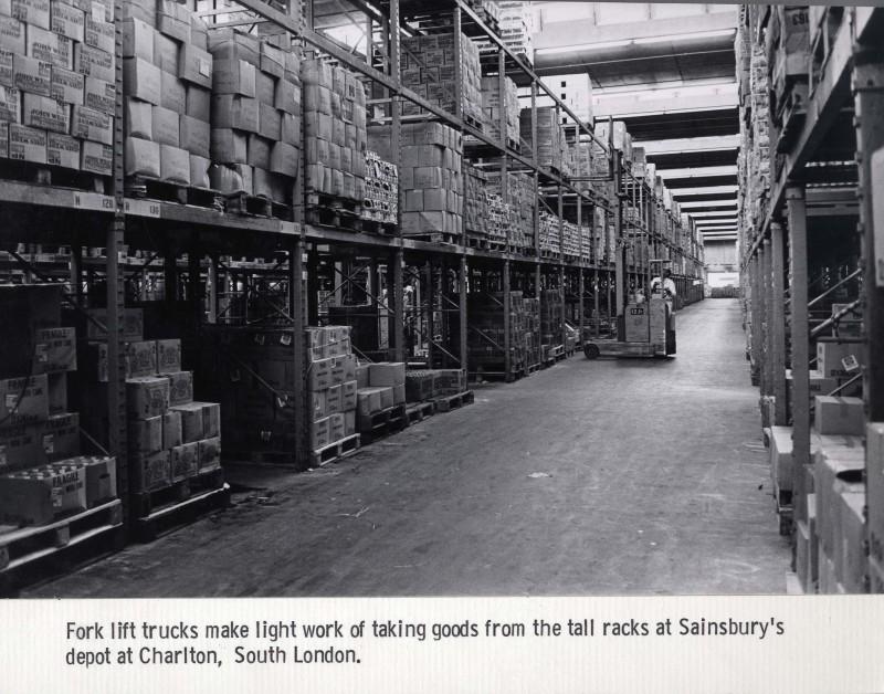 SA/DEP/4/6/16 - Photograph of Charlton Depot warehouse interior, with fork lift truck