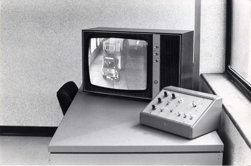 SA/DEP/4/6/32 - Photograph of Charlton Depot surveillance monitor and control panel