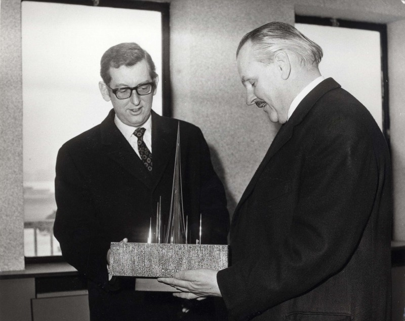 SA/DEP/4/6/54 - Photograph of JD Sainsbury presented with trophy at opening of Charlton Depot
